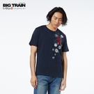 BIG TRAIN 龍之前田慶次圓領短袖-男-深藍/麻灰
