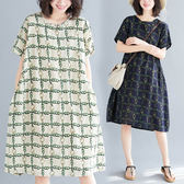 棉麻 鍊條印花洋裝-中大尺碼 獨具衣格