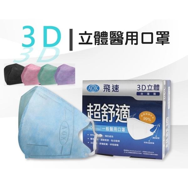 買一送一~當日出貨 AOK飛速3D立體口罩 醫用口罩 成人 水藍色