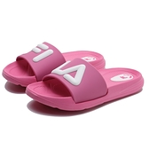 FILA 全粉 粉白 大 立體LOGO 防水 中童 拖鞋 (布魯克林) 2S428U551