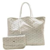 GOYARD 白色LOGO塗層帆布手提肩背兩用包 (附活動式小袋) 【二手名牌BRAND OFF】