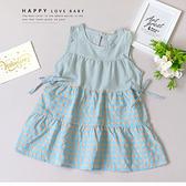 清新撞色藍格紋無袖洋裝 春夏童裝 女童洋裝 女童長版 女童連身裙 女童傘裙