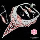 【飾品.鑽飾.舞台.新娘秘書】D-091新娘鑽飾-項鍊套組(項鍊+耳環+戒指+手鍊)(二款) [46840]