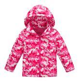 女Baby女童外套可愛迷彩羽絨外套連帽外套桃粉色