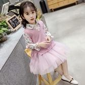 女童春裝連身裙2019新款洋氣兒童公主裙子女孩毛線馬甲套裙韓版潮