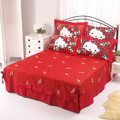 【享夢城堡】HELLO KITTY 我的Ribbon時尚系列-精梳棉雙人床包薄被套組(紅)