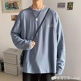 春秋新款男士長袖t恤港風休閒寬鬆簡約體恤潮流帥氣學生上衣