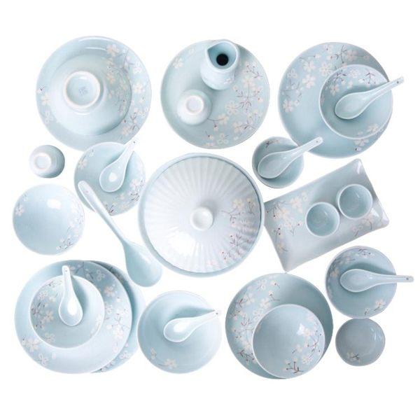 304不銹鋼勺子叉子套裝創意可愛韓式清新中式陶瓷碗盤家用 情人節禮物