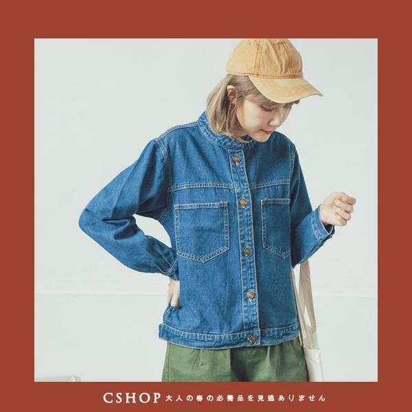 外套   率性立領銅釦牛仔外套   單色-小C館日系