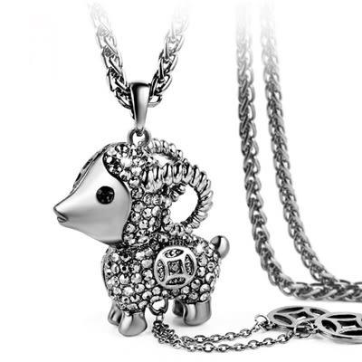 鑲鑽項鍊-復古綿羊生日聖誕節禮物女毛衣鍊2色73fv62【時尚巴黎】