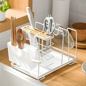 多功能廚房免打孔置物架筷子籠菜板刀具鍋蓋一體收納架坐式刀架