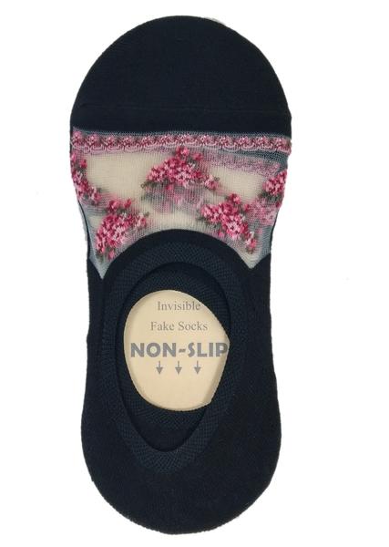 【卡漫城】 繡花 直版 隱形襪 單雙 韓國製造 短襪 女生 襪子 後跟止滑 船型襪 矽膠防滑