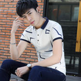 2018夏季新款男士翻領短袖T恤韓版修身休閒青年Polo衫上衣體恤潮 魔方數碼館