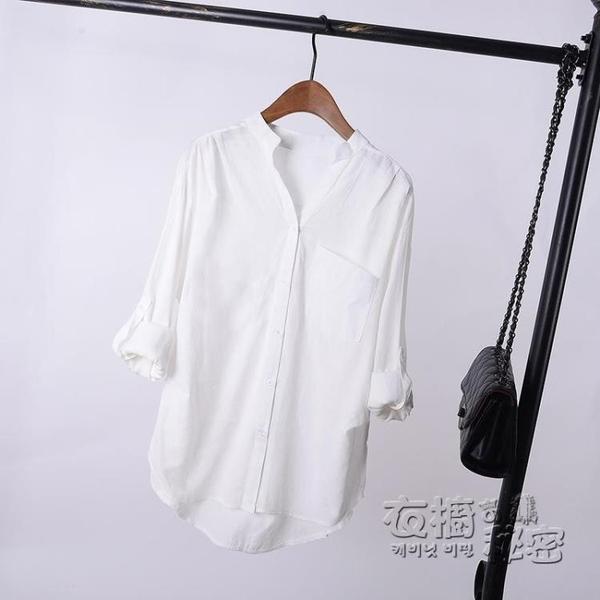棉麻上衣 白色棉麻襯衫女長袖寬松亞麻棉春裝新款韓版百搭中長款襯衣潮 衣櫥秘密