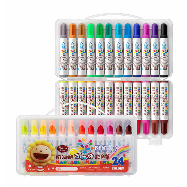 電視廣告促銷 【永昌文具】奶油獅 BLW-12B 可水洗彩色筆12色 /盒
