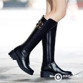 高筒靴平底厚底女鞋馬丁靴中筒皮靴 Xgpj11