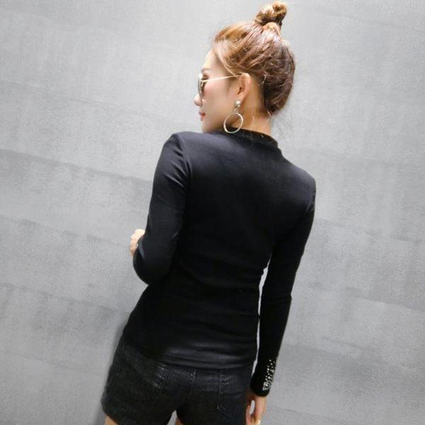 氣質小衫時尚女裝2019春上新小立領滿鉆長袖女上衣t恤百搭打底衫/E家人