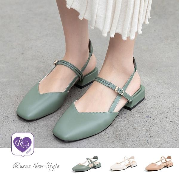 時尚氣質素面方頭一字扣粗低跟鞋/3色/35-40碼 (CX0015-A8069-6) iRurus路絲時尚