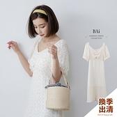 小黃花抓皺澎袖方領長洋裝-BAi白媽媽【310603】