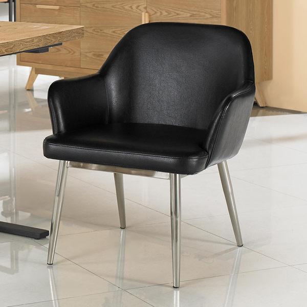 【森可家居】龐德單人位餐椅 7JX247-5 黑皮 椅子