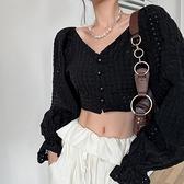 鏤空襯衫女喇叭袖一字肩長袖開衫夏季短款露臍辣妹設計感小眾上衣