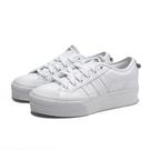ADIDAS 休閒鞋 NIZZA PLATFORM 全白 厚底 皮革 經典 增高 女 (布魯克林) FW0265