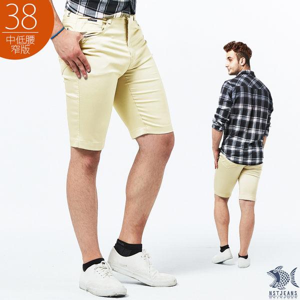 【NST Jeans】流沙金 吸濕排汗 極彈休閒短褲(中低腰窄版) 385(25892)