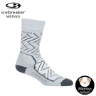 【Icebreaker 女 中筒中毛圈健行襪《淺灰線條》】104437/快乾機能襪/排汗襪/羊毛襪