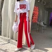 2018新品印花短袖T恤 高腰闊腿褲學生女休閒褲子兩件套時髦套裝潮
