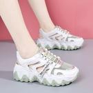 包頭涼鞋老爹鞋女ins潮韓版時尚休閒運動鞋平底厚底學生跑步鞋女 快速出貨