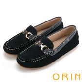 ORIN 復古樂活主義 頂級牛反毛金屬飾釦平底鞋-藍色
