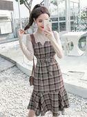 心機女套裝秋冬圓領長袖上衣 格子魚尾裙背帶裙長裙子兩件套解憂雜貨鋪