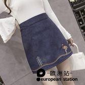 短裙 半身裙a字裙女復古加大碼高腰包臀「歐洲站」