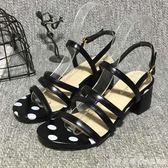 女鞋2019新款女夏歐美粗跟高跟鞋中跟露趾一字扣女鞋羅馬百搭涼鞋 漾美眉韓衣