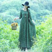 早秋新款復古民族風女裝V領寬鬆七分袖碎花棉麻洋裝長裙子 時尚芭莎