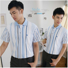 【大盤大】(P56108) 男 零碼M號 短袖POLO衫 直條紋口袋上衣 夏 台灣製休閒衫 透氣 網眼 父親節優惠