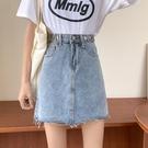 牛仔短裙 夏季新款牛仔短裙小個子復古女高腰A字半身裙顯瘦包臀裙子