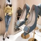 單鞋女2021春季新款法式少女尖頭工作高跟鞋女細跟