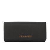 【MICHAEL KORS】JET SET TRAVEL防刮壓釦長夾(金字)(黑色)(厚款)35H6GYAE3L BLACK