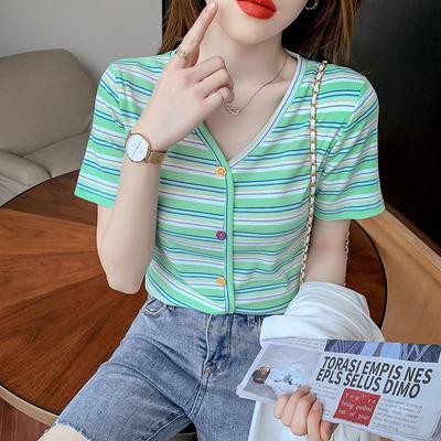 條紋短t 短版上衣韓國夏彩虹條紋V領心機修身短袖t恤女短款高腰露臍上衣潮HF211.胖丫