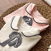 兒童純棉長袖T恤打底衫女童可拆蝴蝶結純色襯衣中大童春秋裝新款 小艾新品