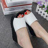 夏季女鞋韓版厚底拖鞋女夏時尚高跟涼拖一字拖外穿厚底楔形涼拖鞋      檸檬衣舍