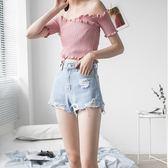 Pink中大尺碼一字領上衣 露肩短袖上衣t恤女短款內搭性感露臍修身百搭彈力2019新款夏 rj268