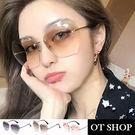 OT SHOP太陽眼鏡‧歐美街頭漸層鏡面兼顧鏡軸百搭時尚中性款‧漸層粉/灰/咖啡‧現貨三色‧W48