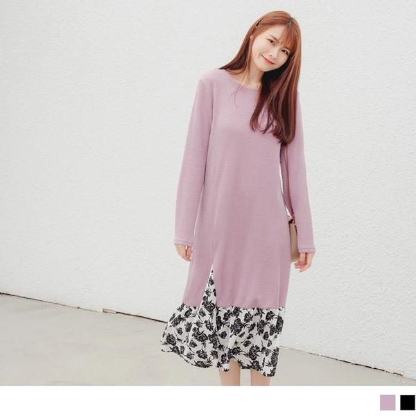 《DA8391-》假兩件拼接印花下襬暖感長洋裝 OB嚴選