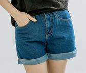 短褲   休閒素面反折造型牛仔短褲   二色原單-CALLING