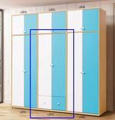 【新北大】T026-2 傑克藍白2.5尺衣櫥(雙門雙抽)(J01)-2019購