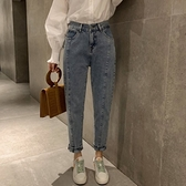 漂亮小媽咪 哈倫褲【P3146】 高腰牛仔長褲 韓系 寬鬆 百搭 丹寧 長褲 牛仔褲