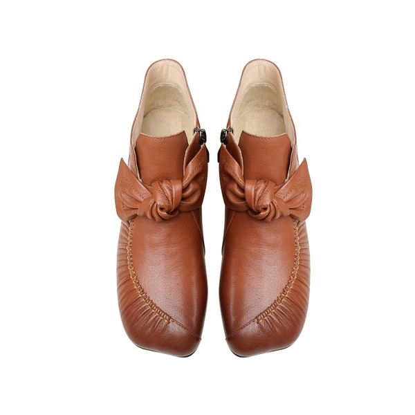 手工真皮女鞋34~39 2020新款氂牛皮蝴蝶結低跟踝靴~3色