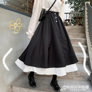 網紅黑色半身裙春夏女中長款高腰a字裙子遮胯顯瘦港風ins日系長裙 時尚芭莎